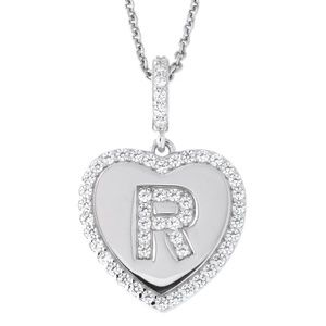 Letter R Initial Heart CZ Pendant Sterling Silver